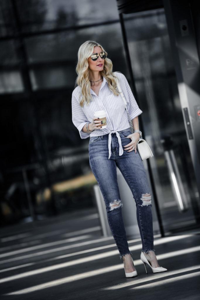 Heather Anderson, Dallas Fashion blogger, tie front top
