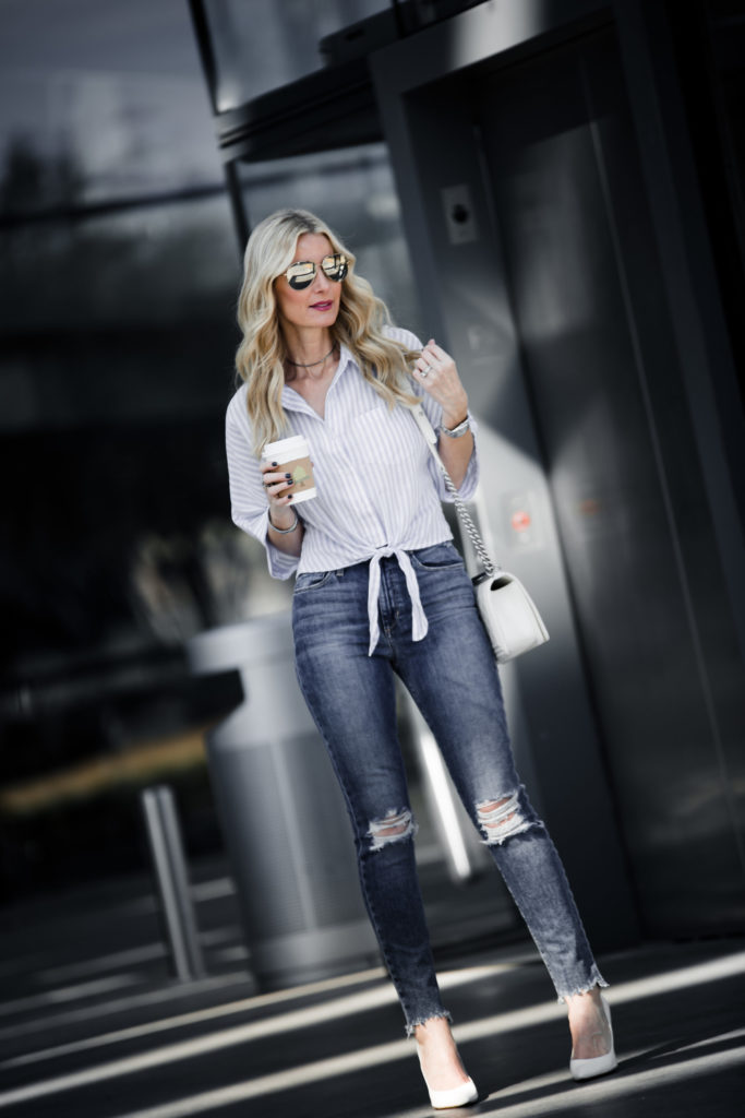 Dallas Fashion Blogger wearing tie front top and ripped jeans