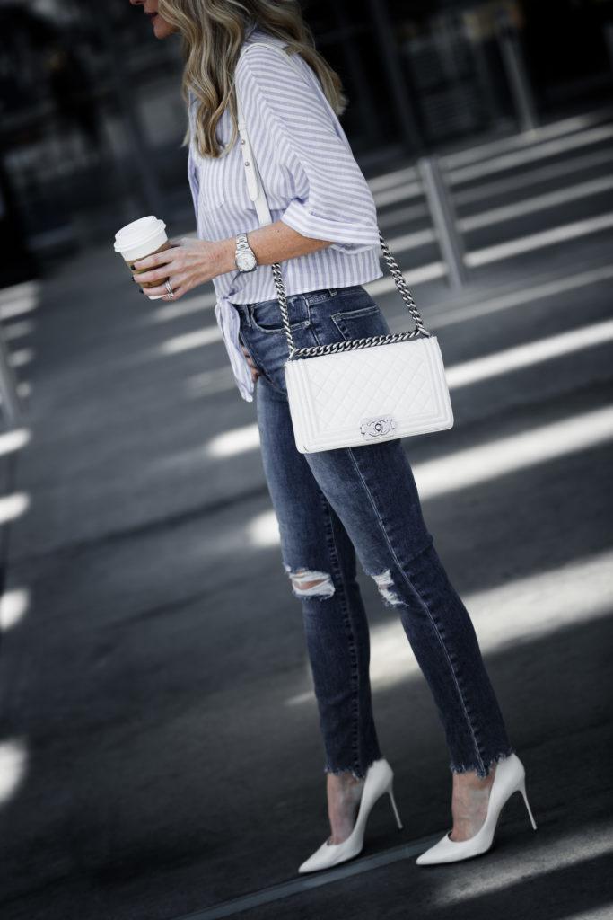 Chanel Boy Bag, White Pumps, Striped Top