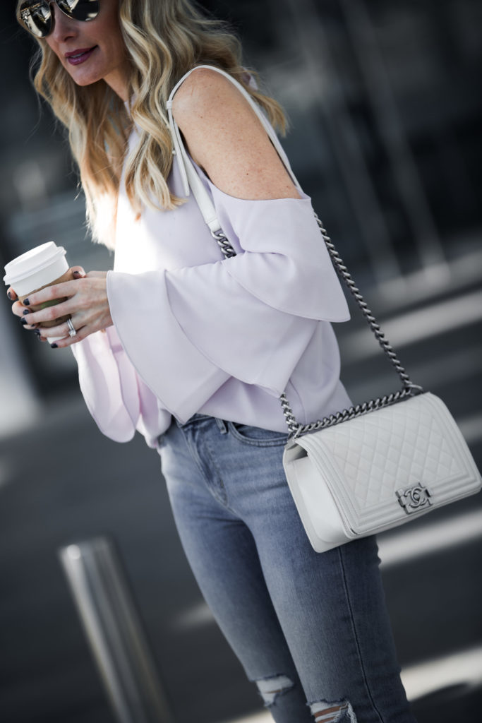 Cold Shoulder Top, Chanel Boy Bag, Heather Anderson