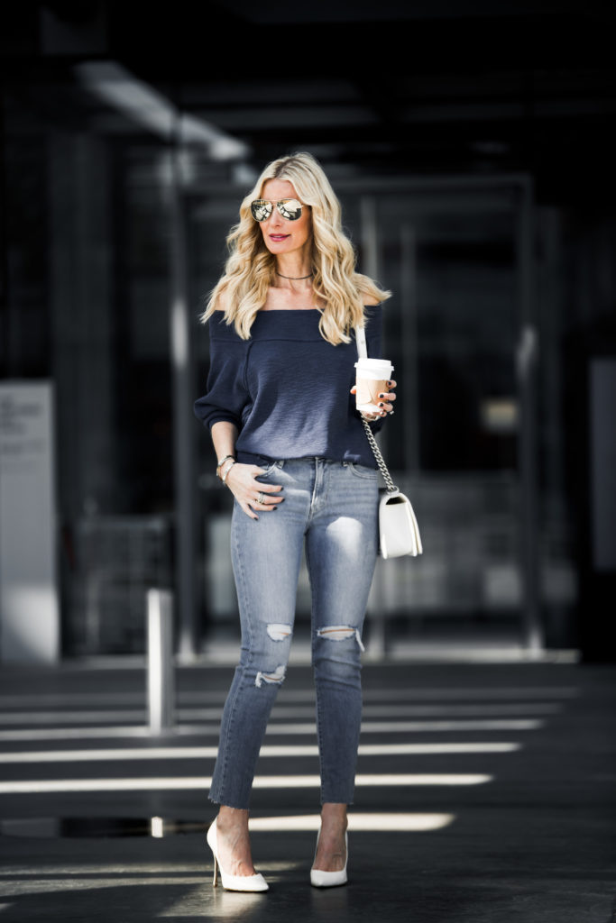 Off the Shoulder Top, Levis Jeans, Heather Anderson