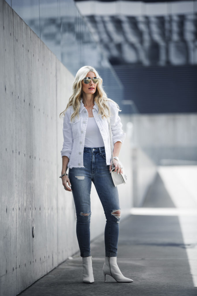 White Booties Outfit, White Jean Jacket, Ripped Jeans