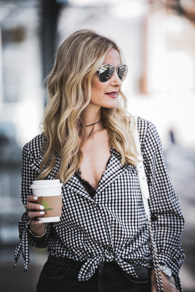 Anine Bing Lace bralette plus gingham top