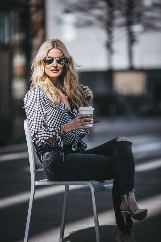 Dallas Fashion Blogger styling gingham top