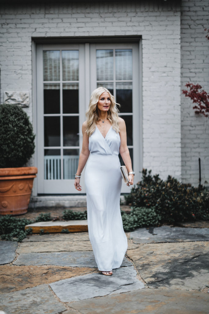 Heather Anderson wearing maxi dress and heels