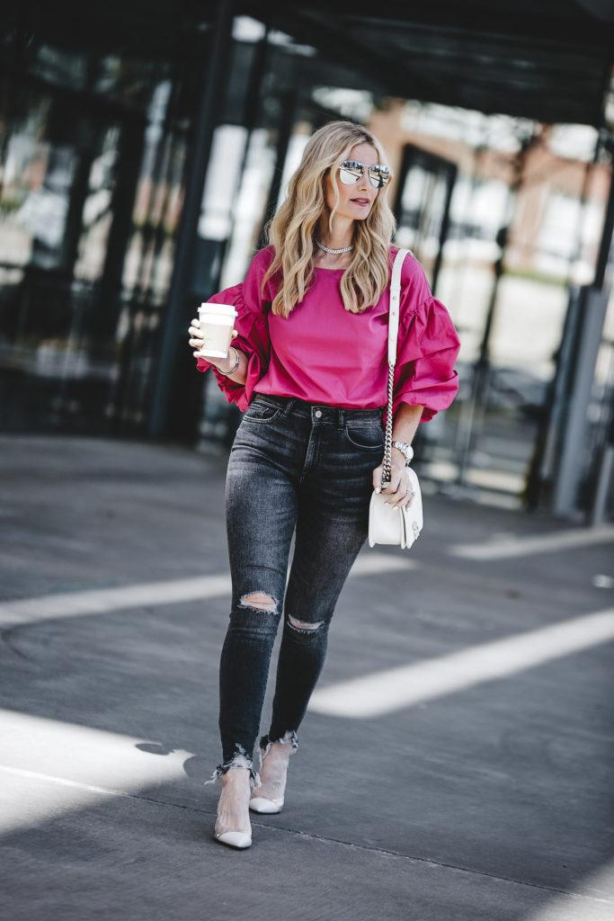 Hot Pink top, So Heather, Dallas Fashion Blogger