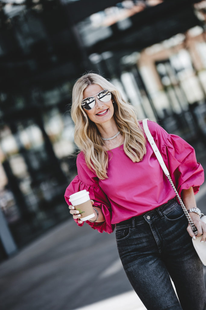 Hot Pink top, Ripped Jeans, So Heather