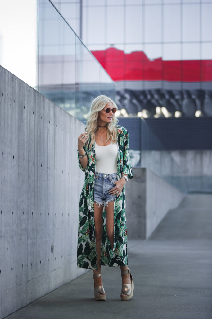 Denim cut offs styled with rachel zoe's printed duster