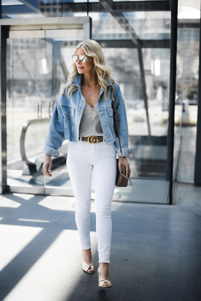 Heather Anderson wearing Gucci belt and denim jacket