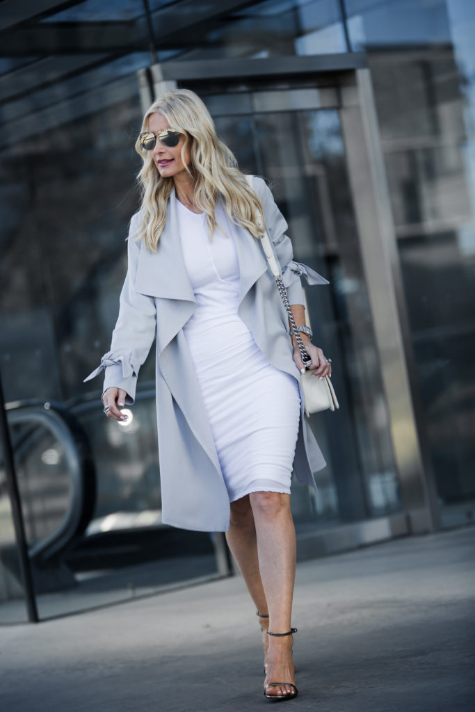 Heather Anderson Wearing White dress and trench coat