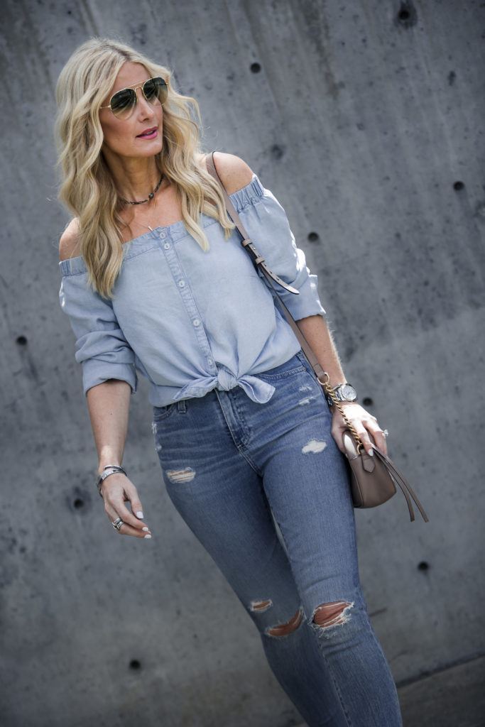 Heather Anderson wearing double denim