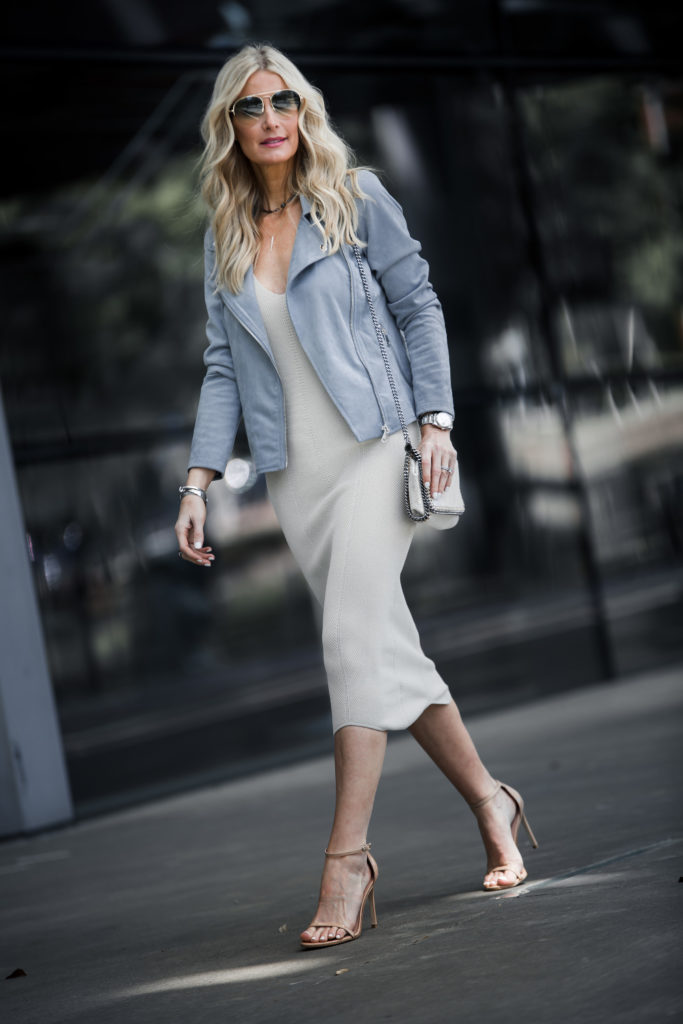 Gucci Aviators, Moto jacket, and nude heels