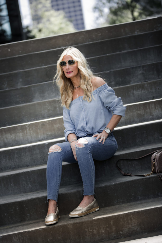 Heather Anderson wearing comfortable shoes and ripped jeans