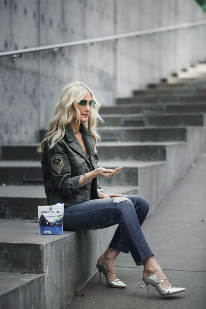 Dallas fashion blogger wearing army jacket and ripped jeans