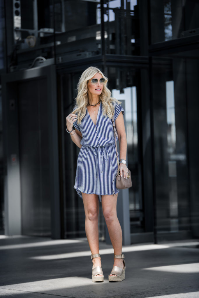 Heather Anderson wearing casual spring dress on the streets of Dallas, Texas