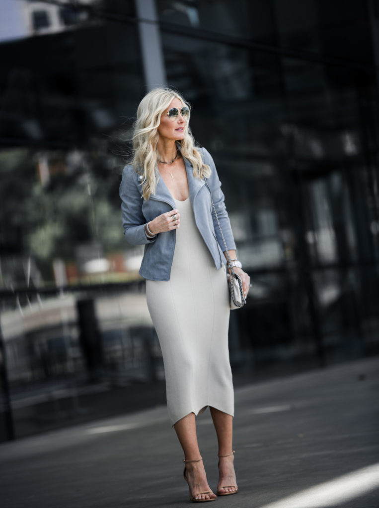 Dallas Fashion Blogger wearing suede moto jacket