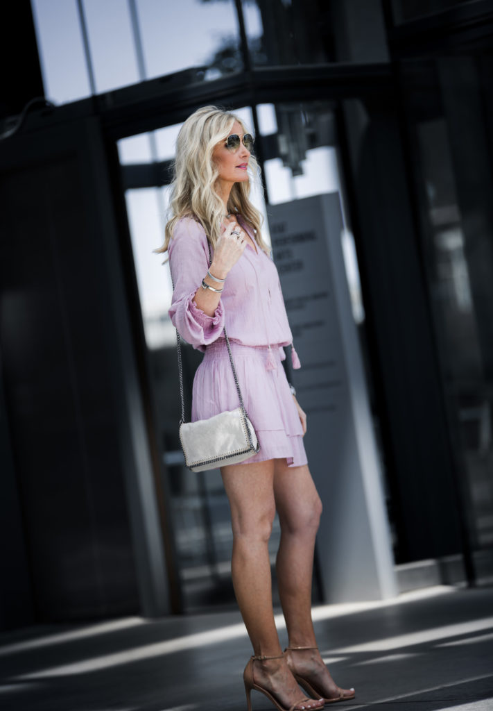 Dallas fashion blogger wearing pink dress and nude heels
