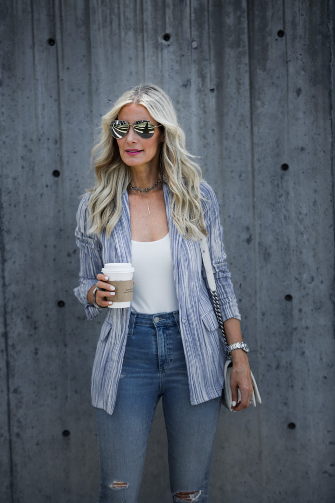 Striped blazer and AG ripped jeans