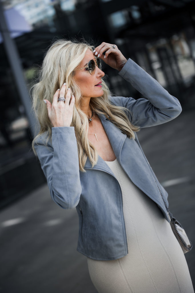 Dallas Style blogger wearing faux suede moto jacket