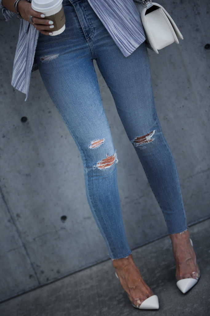 High waisted ripped jeans by AG