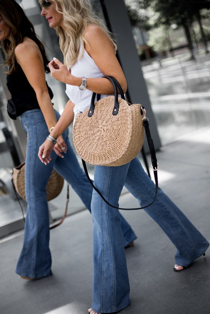 Circle straw bag and flare jeans