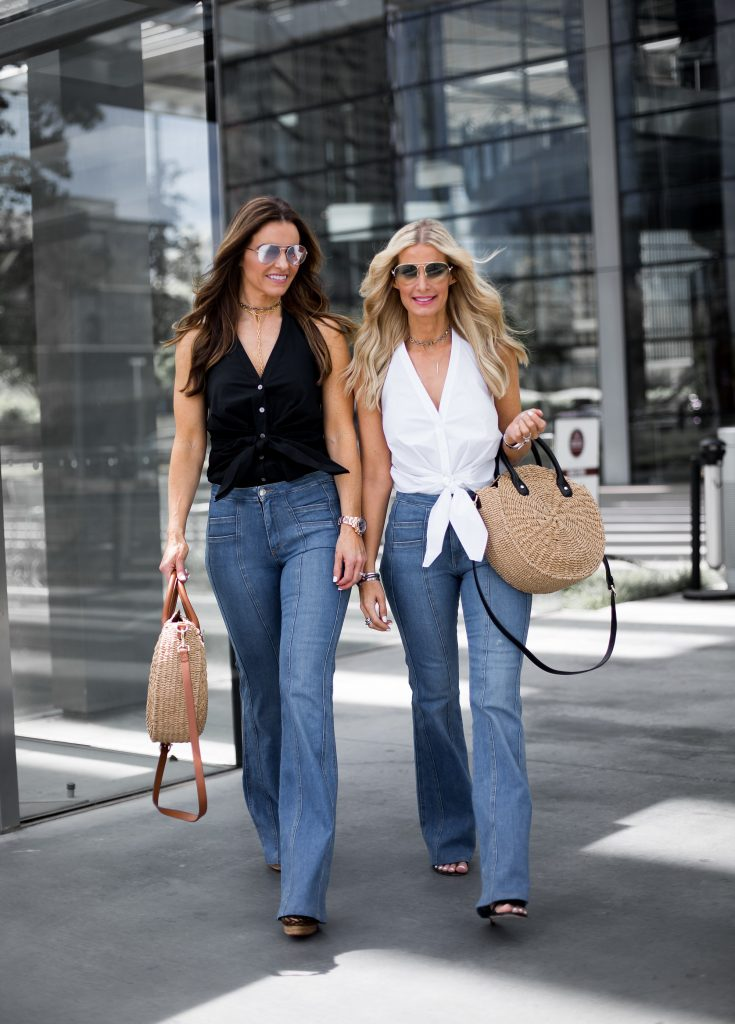 Dallas style blogger wearing flares jeans