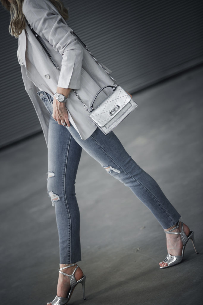 Silver handbag and Veronica Beard Heels