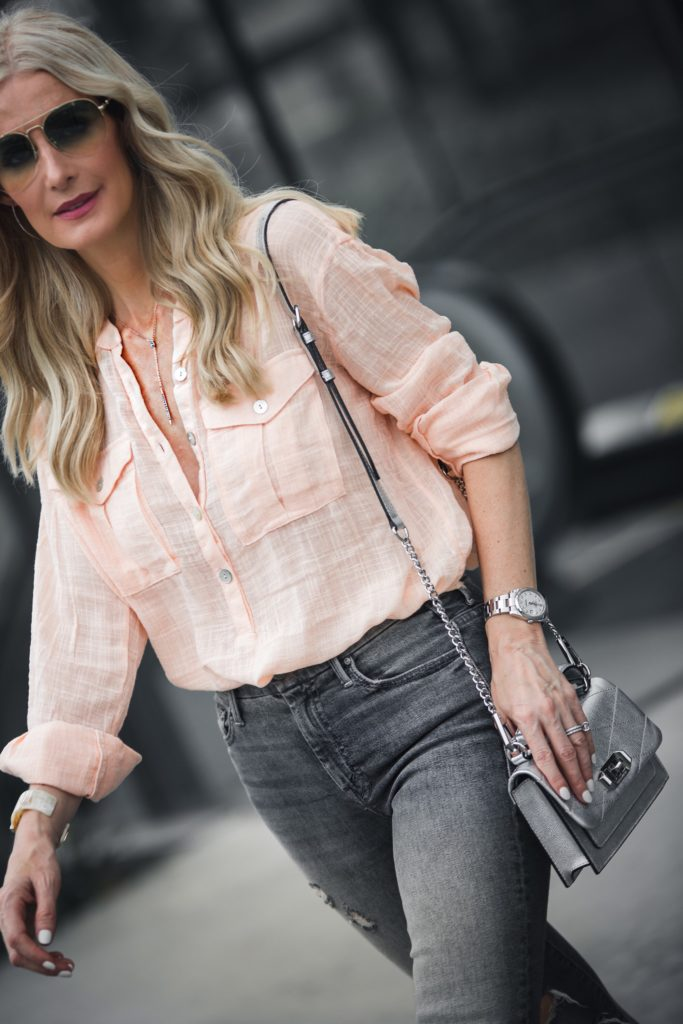 Rebecca Minkoff silver handbag and Free People Top