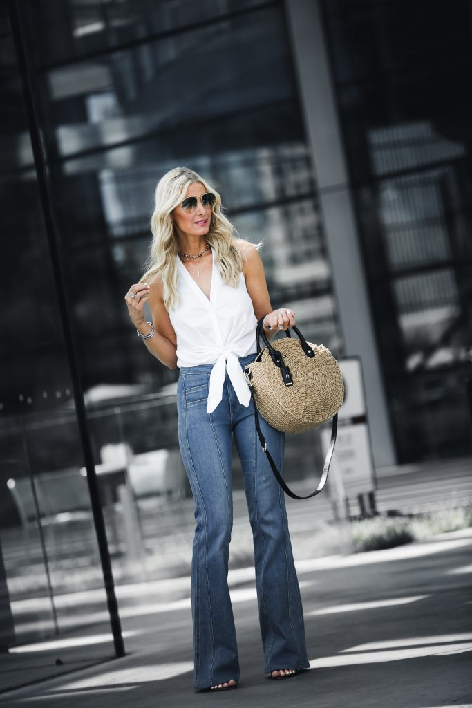Dallas fashion blogger wearing Veronica Beard flare jeans
