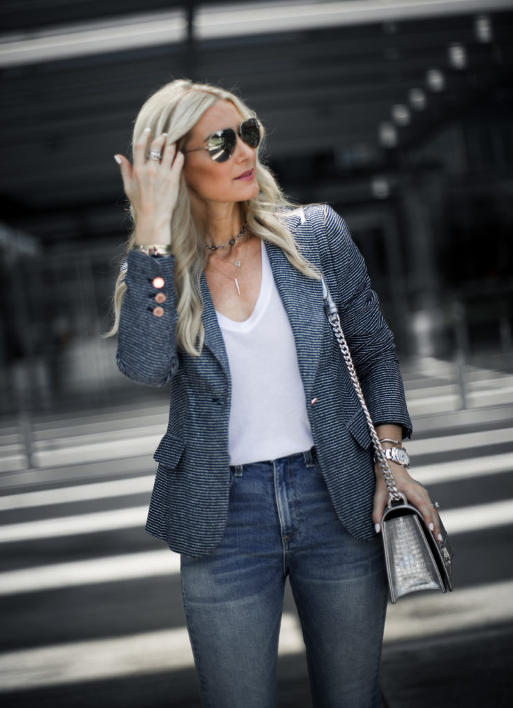 Dallas Style blogger wearing a Madewell white tee and fitted Ivanka Trump blazer
