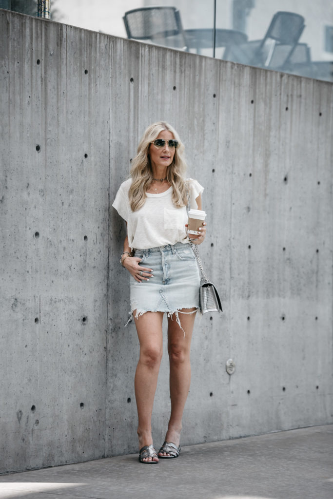 agolde ripped denim skirt