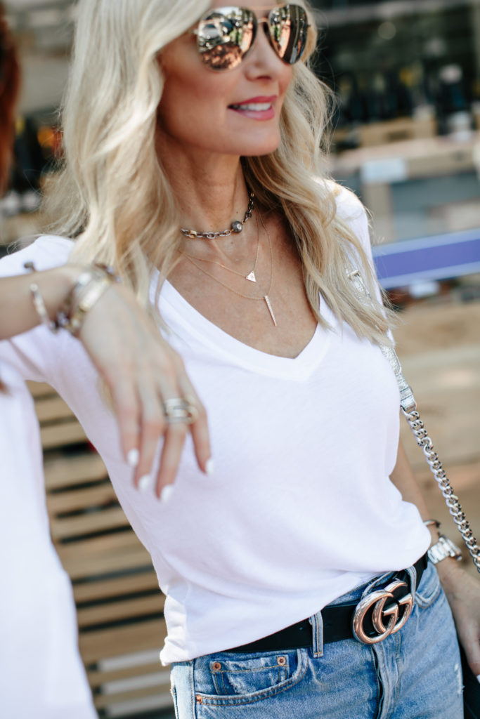 Madewell white tee, Gucci Belt, and Ripped Jeans