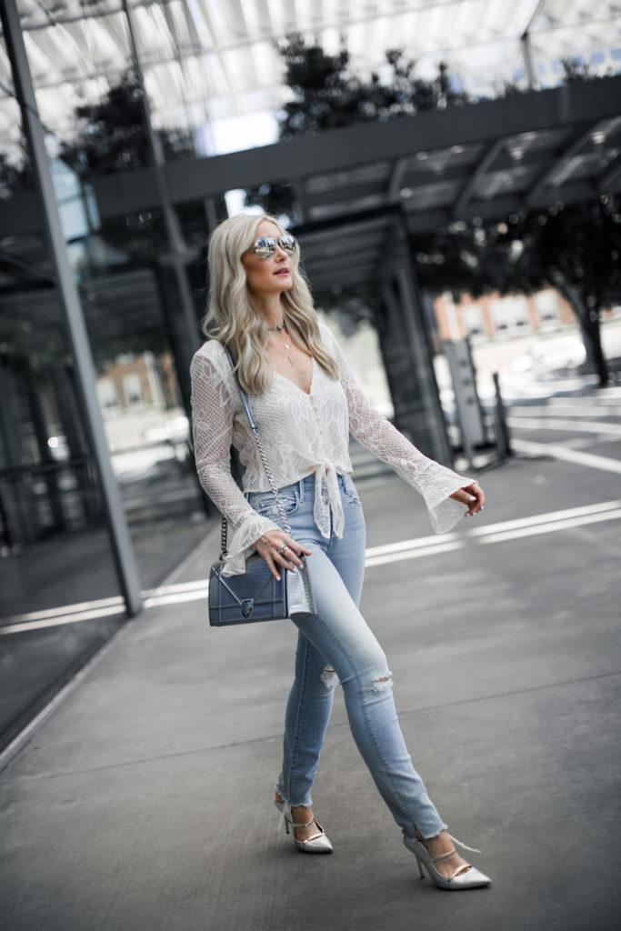 Silver Dior Handbag and Tie Front Lace Top
