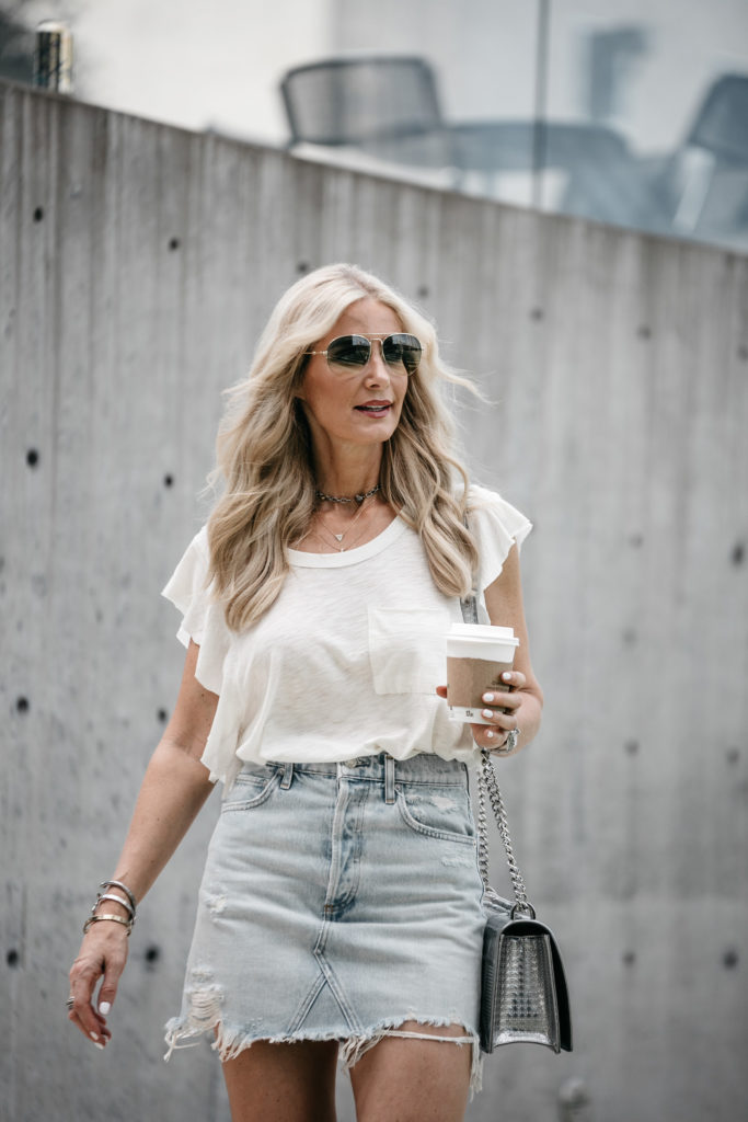 a line ripped denim skirt and linen tee