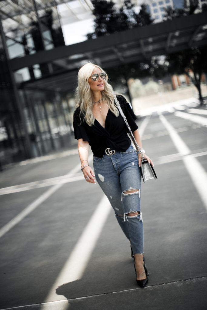 Dallas Style Blogger wearing ripped jeans and Dior Heels
