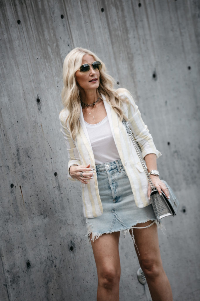 agolde denim skirt and blazer