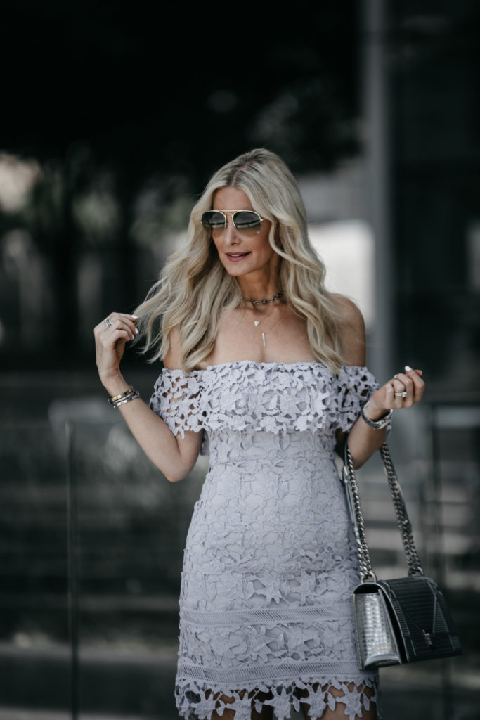 Dallas Style blogger wearing off the shoulder dress