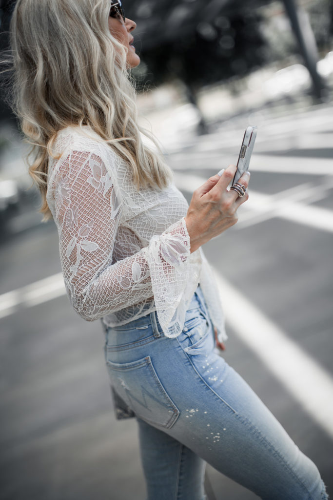 I phone X and Mother jeans