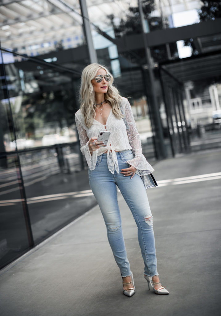 Lace Top and Mother jeans