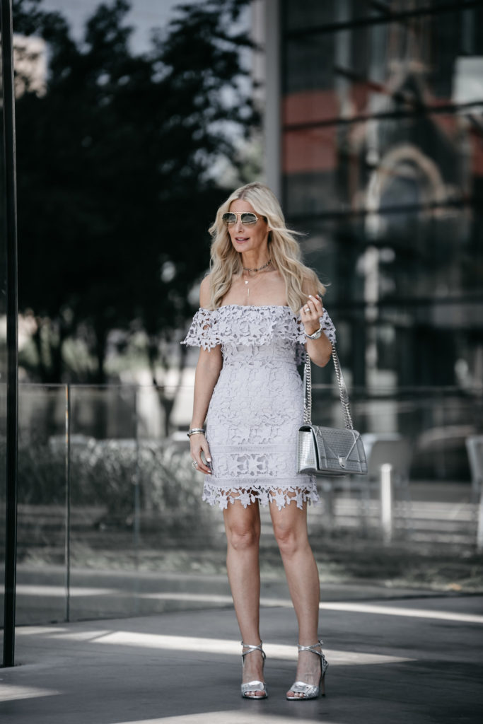 Dallas fashion blogger wearing silver heels and a lace dress