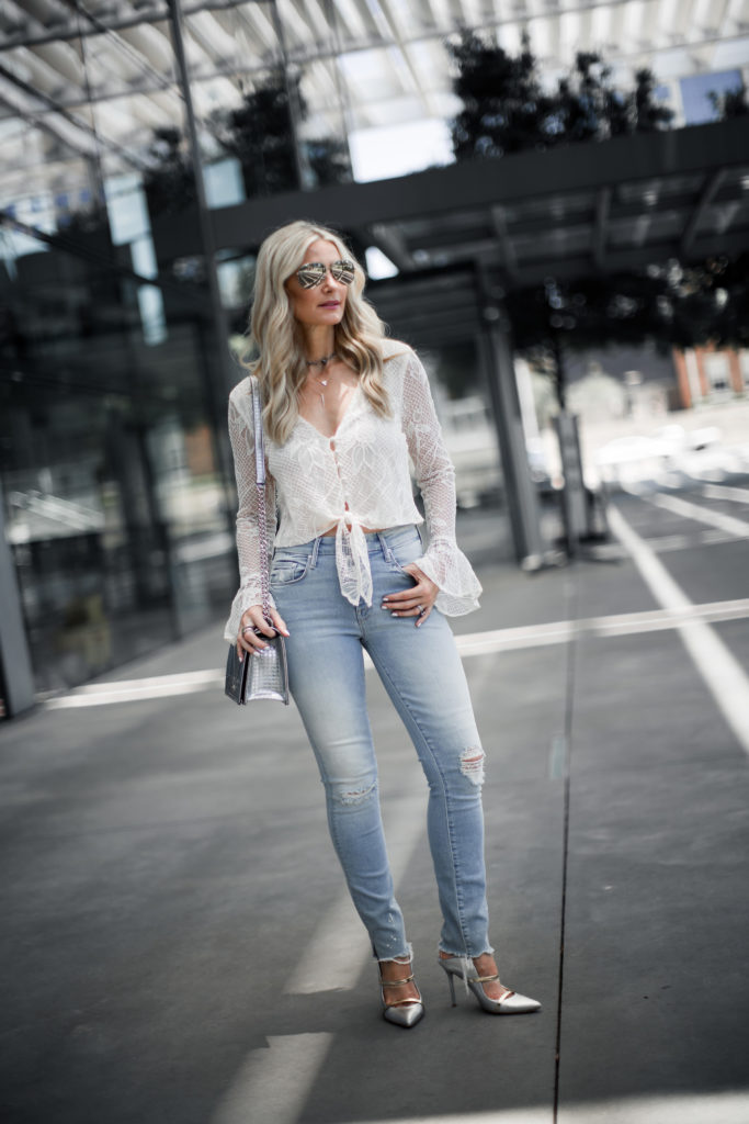 Lace Top, Dior handbag, and Mother ripped jeans