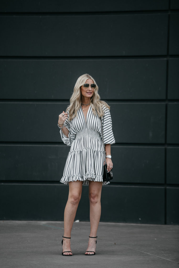 Misa Los Angeles Striped Dress and Gucci Handbag