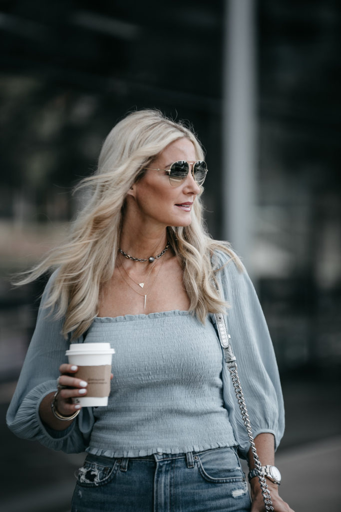Dallas Fashion Blogger wearing smocked top