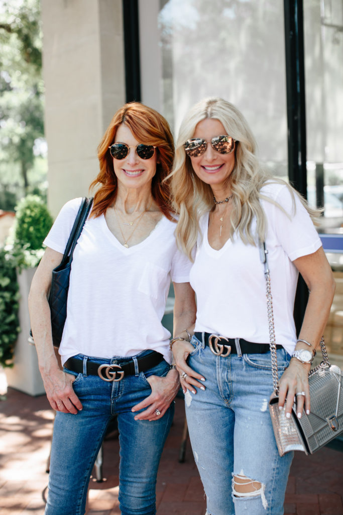Dallas Fashion Bloggers wearing white tee and jeans