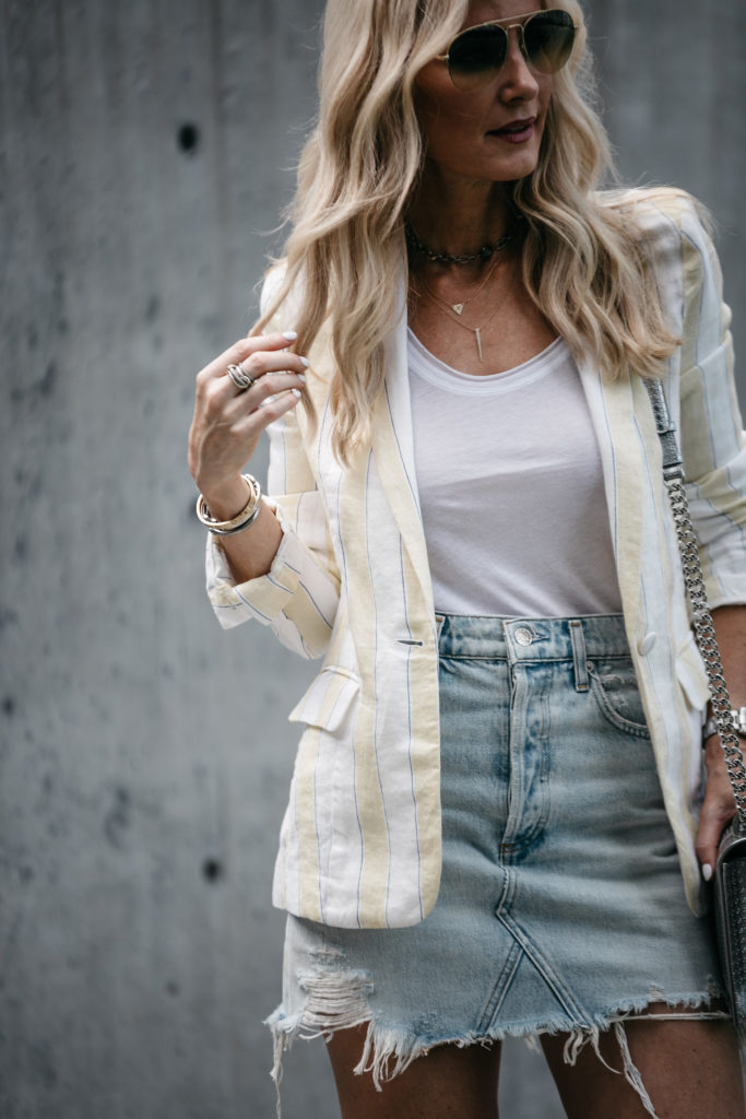 linen blazer and ripped denim skirt