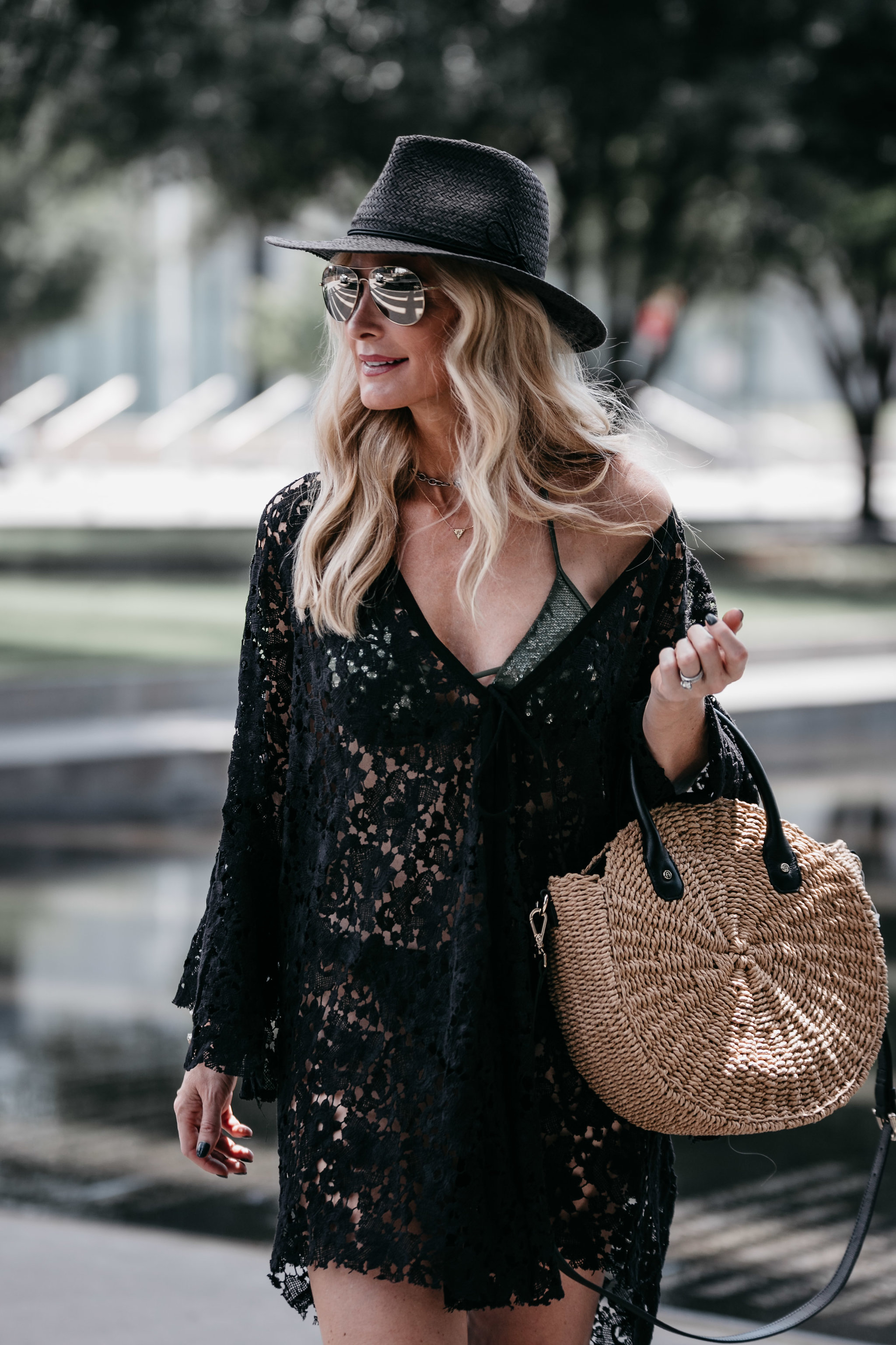 Black beach cover-up, black straw hat and woven bag