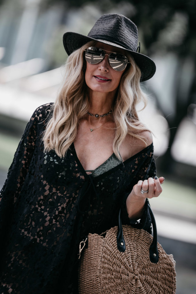 Dallas fashion blogger wearing black lace cover up