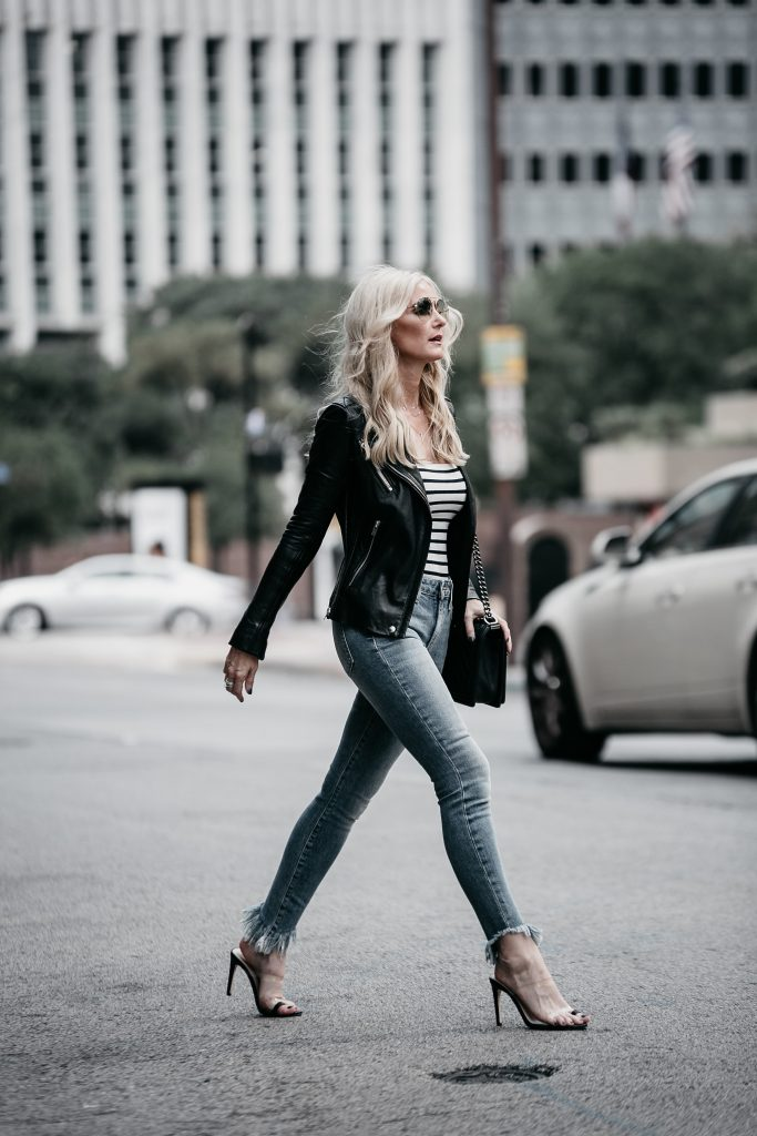 Dallas style blogger wearing Iro leather jacket