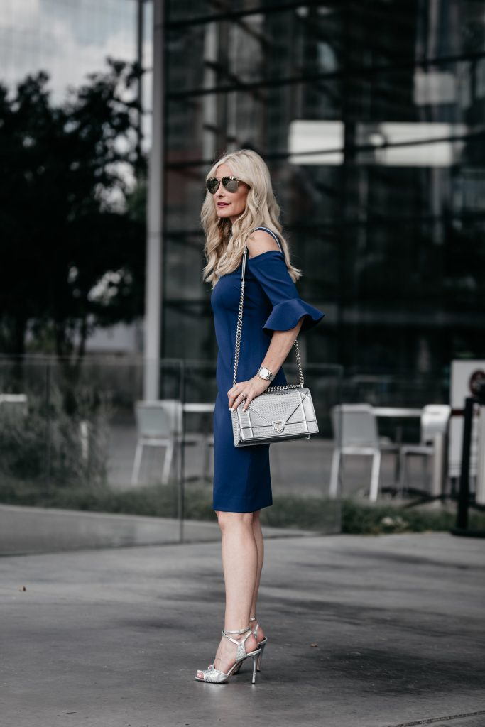 Ruffle sleeve dress on Dallas blonde