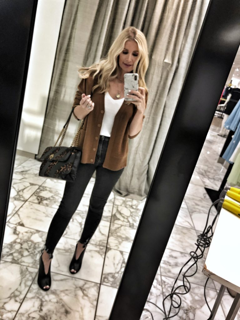 Dallas style blogger wearing a camel cardigan